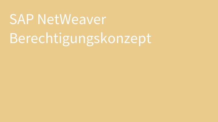 SAP NetWeaver Berechtigungskonzept