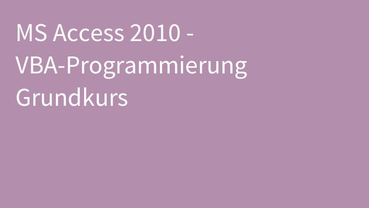 MS Access 2010 - VBA-Programmierung Grundkurs