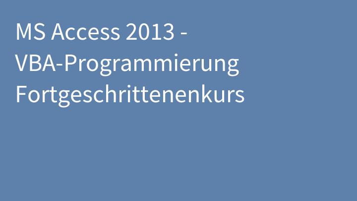 MS Access 2013 - VBA-Programmierung Fortgeschrittenenkurs