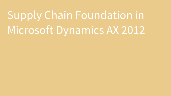 Supply Chain Foundation in Microsoft Dynamics AX 2012