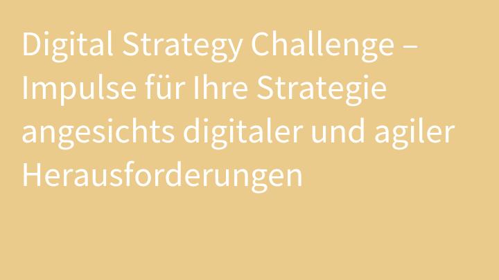 Digital Strategy Challenge – Impulse für Ihre Strategie angesichts digitaler und agiler Herausforderungen