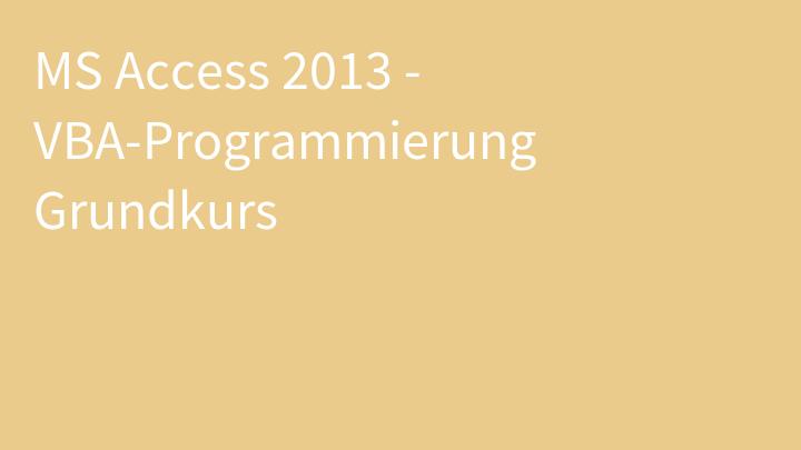 MS Access 2013 - VBA-Programmierung Grundkurs