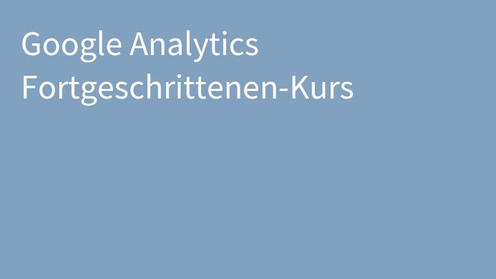 Google Analytics Fortgeschrittenen-Kurs