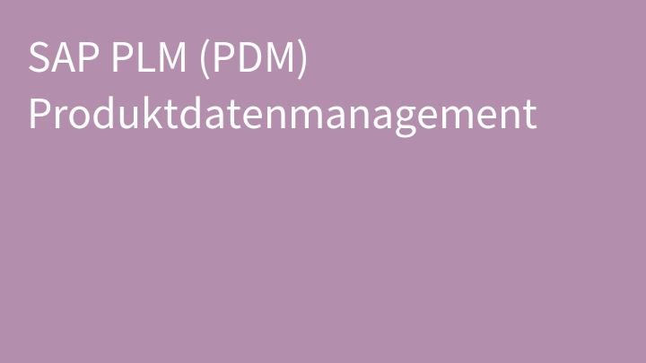 SAP PLM (PDM) Produktdatenmanagement