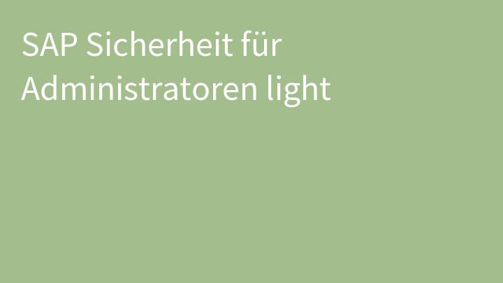 SAP Sicherheit für Administratoren light