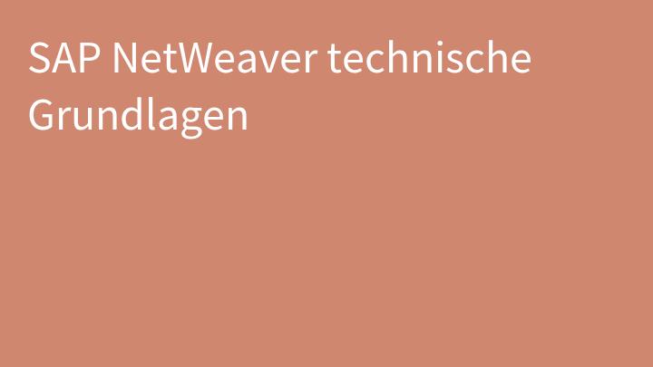 SAP NetWeaver technische Grundlagen