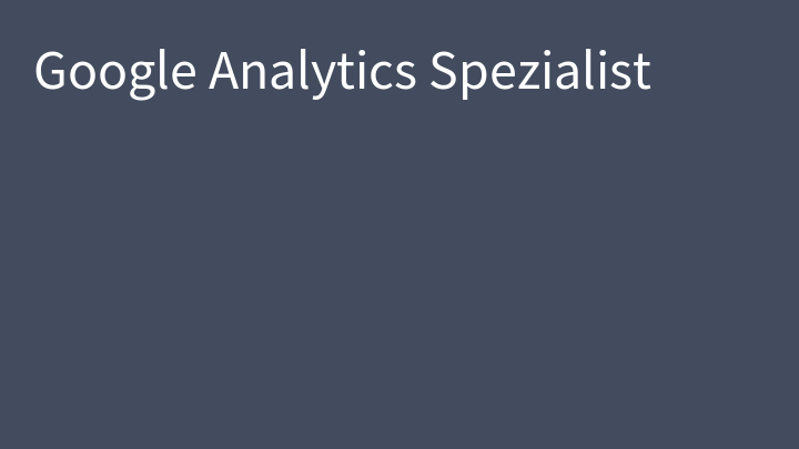 Google Analytics Spezialist