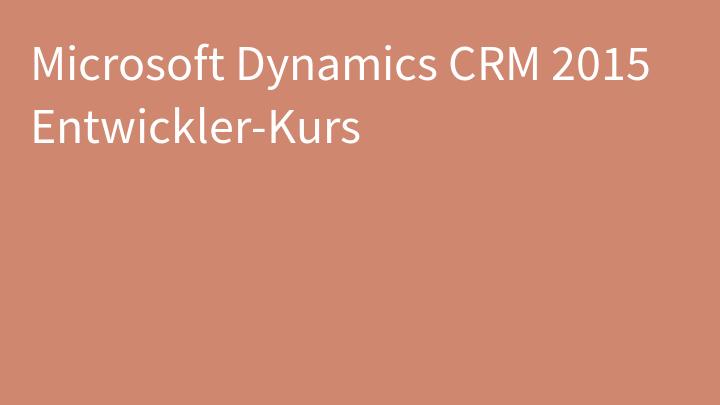 Microsoft Dynamics CRM 2015 Entwickler-Kurs