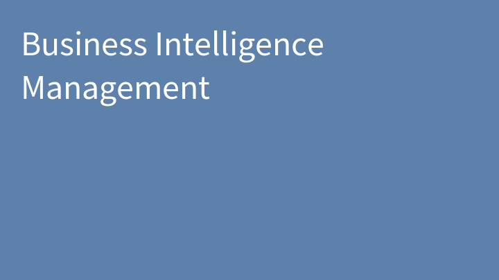 Business Intelligence Management
