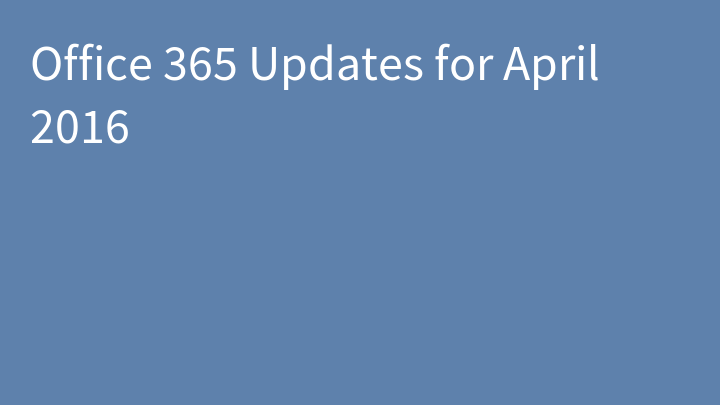 Office 365 Updates for April 2016