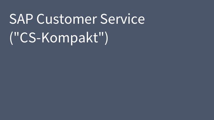 SAP Customer Service (
