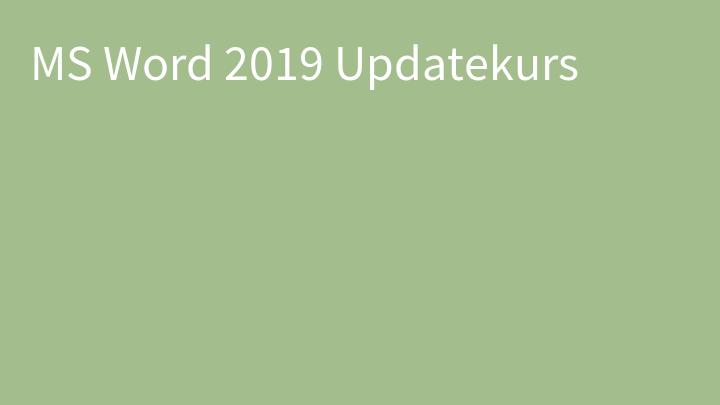 MS Word 2019 Updatekurs