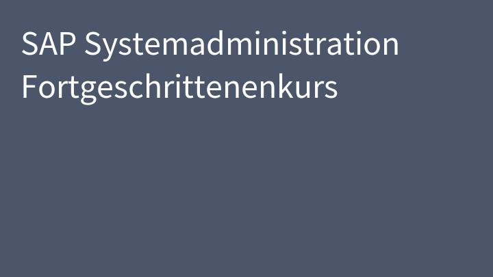 SAP Systemadministration Fortgeschrittenenkurs