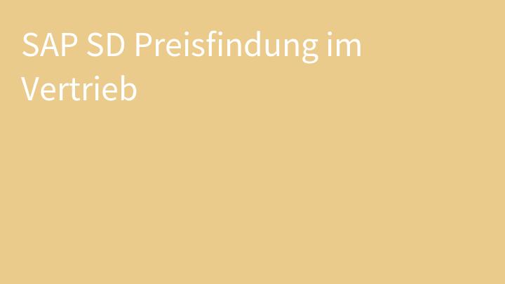 SAP SD Preisfindung im Vertrieb