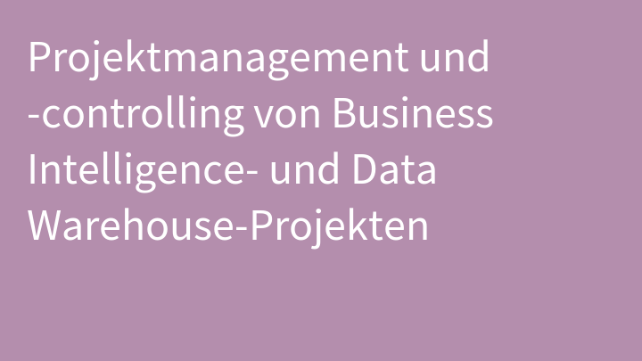 Projektmanagement und -controlling von Business Intelligence- und Data Warehouse-Projekten