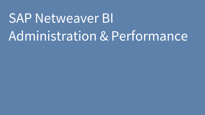 SAP Netweaver BI Administration & Performance