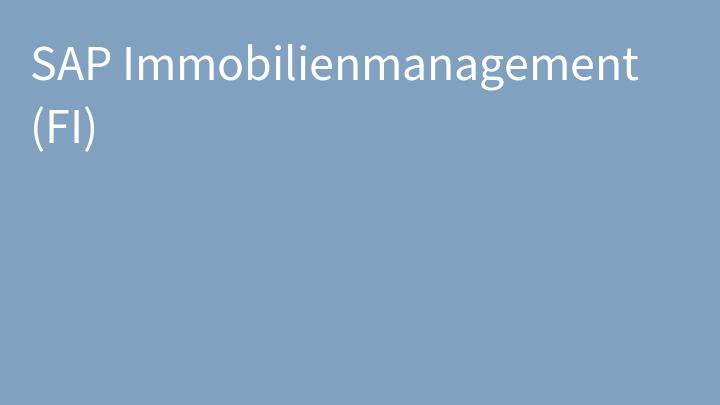 SAP Immobilienmanagement (FI)