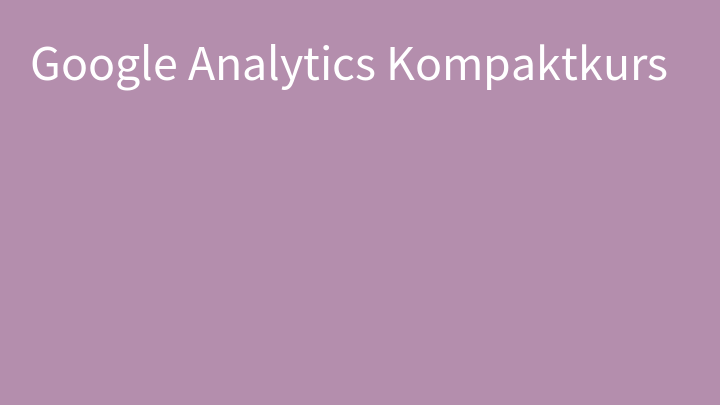 Google Analytics Kompaktkurs