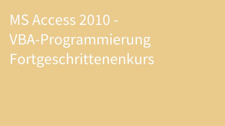 MS Access 2010 - VBA-Programmierung Fortgeschrittenenkurs