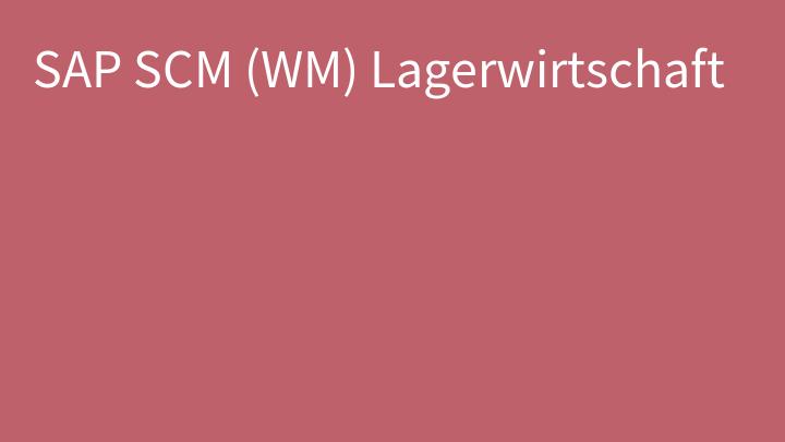 SAP SCM (WM) Lagerwirtschaft