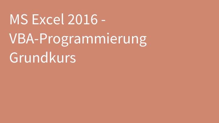 MS Excel 2016 - VBA-Programmierung Grundkurs
