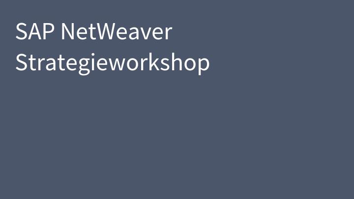 SAP NetWeaver Strategieworkshop