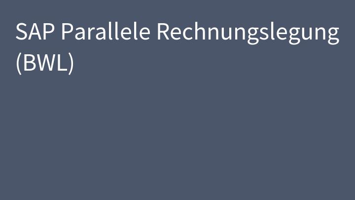 SAP Parallele Rechnungslegung (BWL)