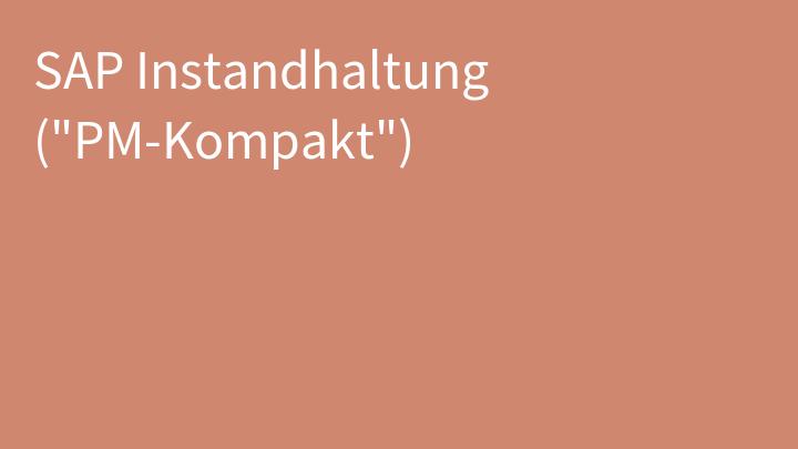 SAP Instandhaltung (