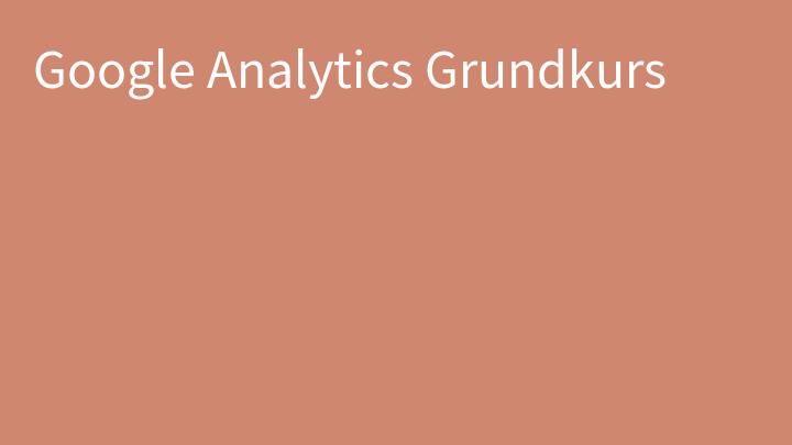 Google Analytics Grundkurs