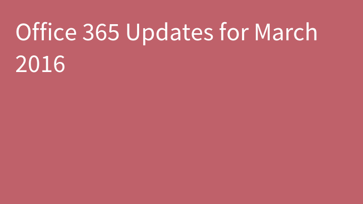 Office 365 Updates for March 2016