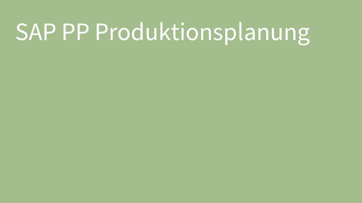 SAP PP Produktionsplanung